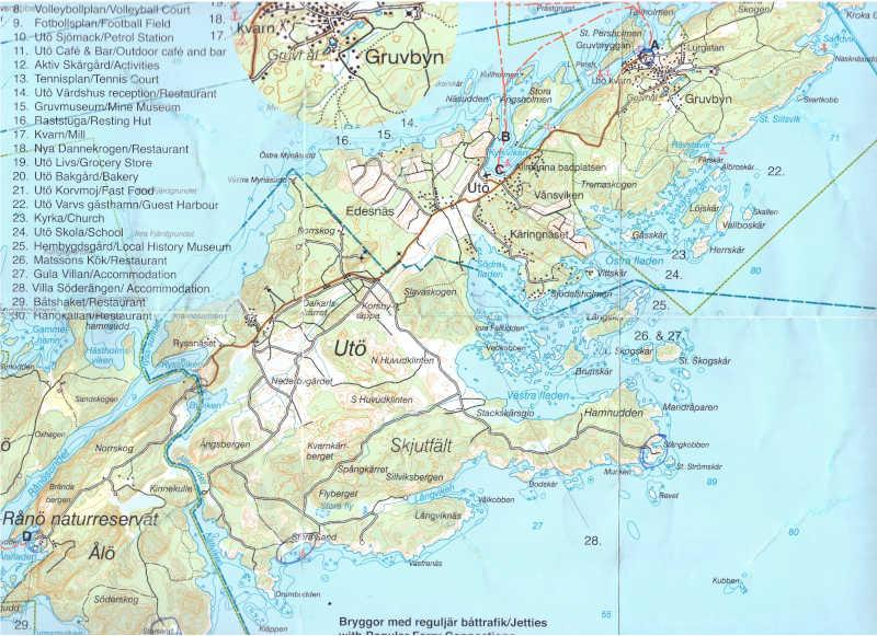 Cartina di Utö e Ålö