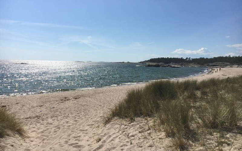 La spiaggia di sabbia di Stora Sand a Utö e Ålö nell arcipelago di Stoccolma