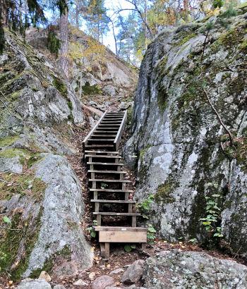 Scala nei percorsi trekking a Stoccolma